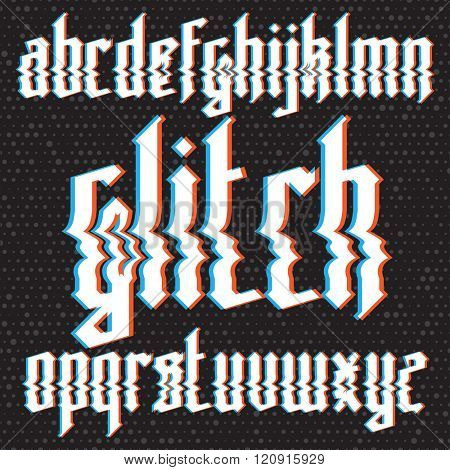 Modern custom gothic glitch distortion alphabet font. Trendy glitch vector font set on dark background