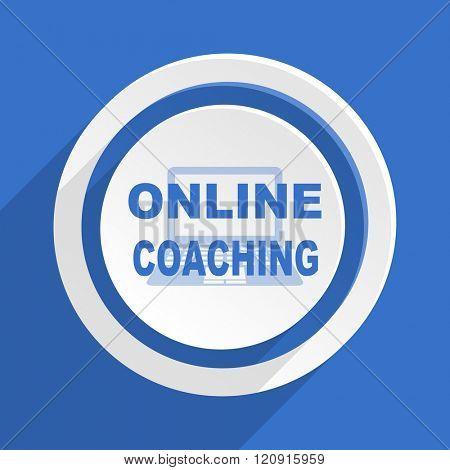 online coaching blue flat design modern icon