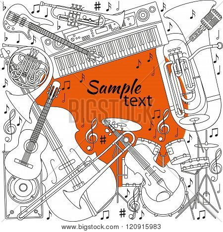 Musical background with different musical instruments, treble clef and notes. Black, orange and whit