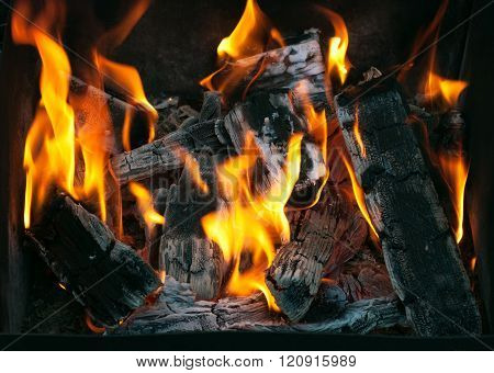 Fire. Hot coals in the grill. Burning wood in a brazier.  Closeup of charcoal burning under a barbecue grill