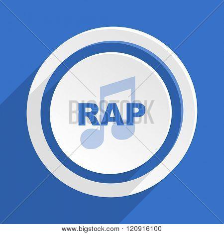 rap music blue flat design modern icon