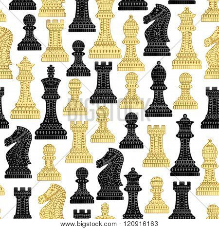 Seamless pattern with all chess pieces. Black and white. Beautiful lace ornament in Indian style. Ve