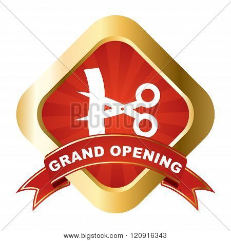 Red - Gold Vector Sign Grand Opening