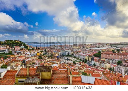 Lisbon, Portugal skyline in the day.