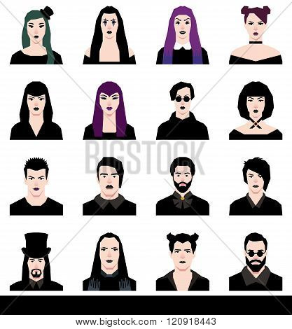 Set In A Flat Style Avatars Male And Female Goths