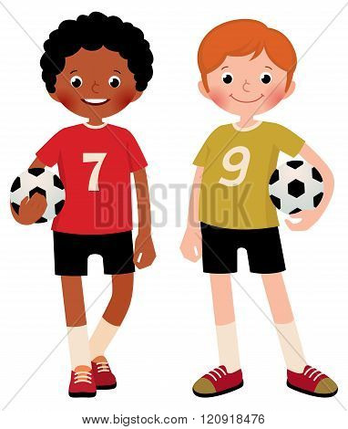 Two Children Boys Football Players Isolated On White Background