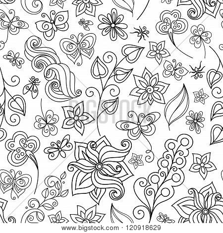 Vector Seamless Monochrome Floral Pattern