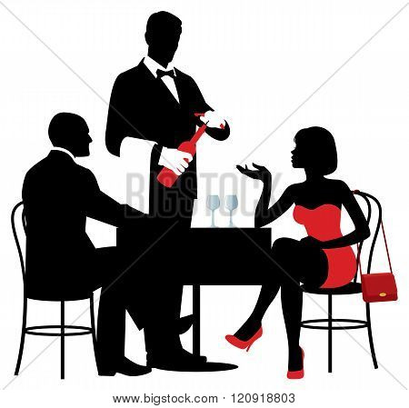 People Sitting At The Table Of The Restaurant And The Waiter Opens A Bottle Of