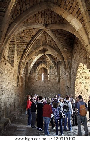 Group Of Tourists In The Fortified Crusader City