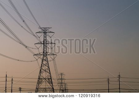 Electricity pylons .