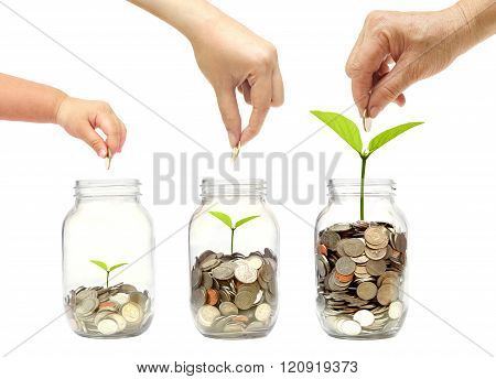 Grandmother, mother, and baby in the family do green saving money isolated / Family go green saving concept