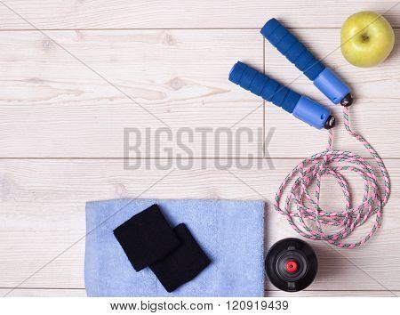 Top View Of Sport Accessories On The Floor