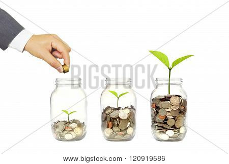 Hand of businessman putting a golden coin to trees growing on piles of coins in a glass bottle