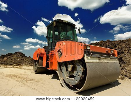 Roll Compactor At Construction Site
