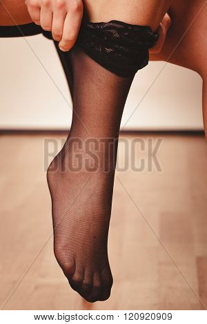 Woman Wearing Black Stockings
