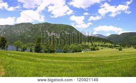 Panoramic View Of Mountains And Valleys Near Bohinj Lake, Slovenia