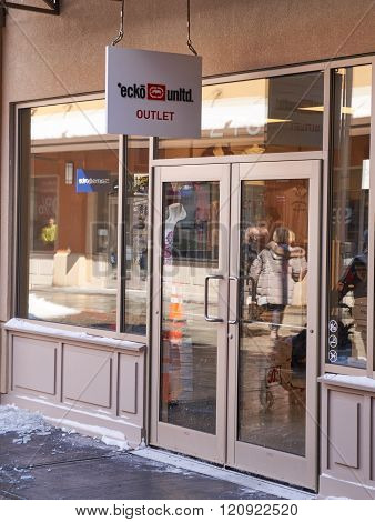 MONTREAL CANADA - MARCH 6 2016 - ecko unltd outlet in Premium Outlets Montreal. The Premium Outlets is the second Premium Outlet Center in Canada located in Mirabel Quebec.