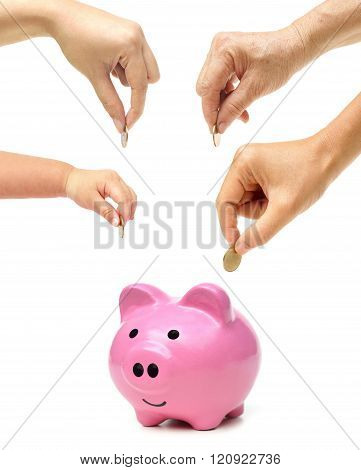 Grandmother, father, mother, and baby in the family do saving money in pink piggy banks / Family saving money concept
