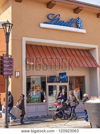 MONTREAL CANADA - MARCH 6 2016 - Lindt outlet in Premium Outlets Montreal. The Premium Outlets is the second Premium Outlet Center in Canada located in Mirabel Quebec.