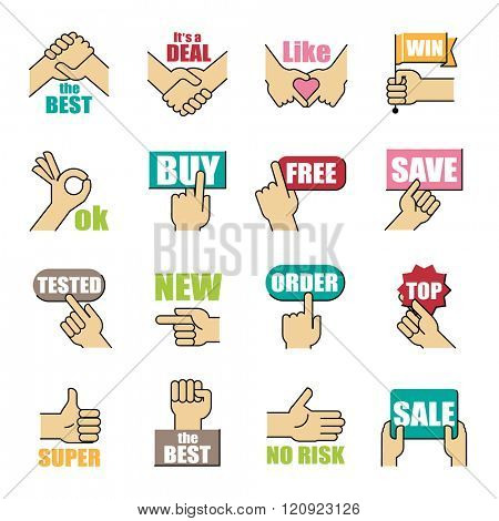 Hands gesticulate business related matters. Vector illustration