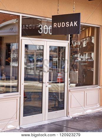 MONTREAL CANADA - MARCH 6 2016 - Rudsak outlet in Premium Outlets Montreal. The Premium Outlets is the second Premium Outlet Center in Canada located in Mirabel Quebec.