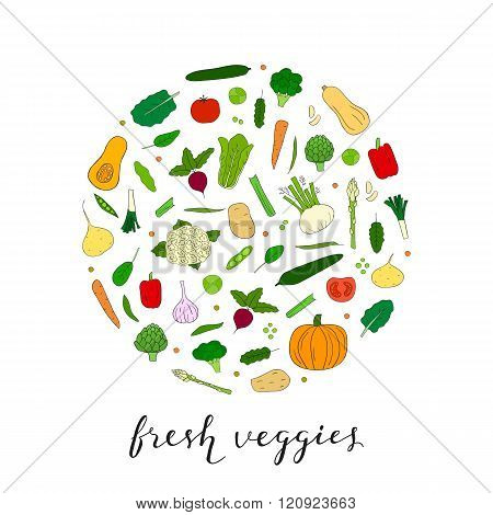 Hand drawn vegetables in circle shape.