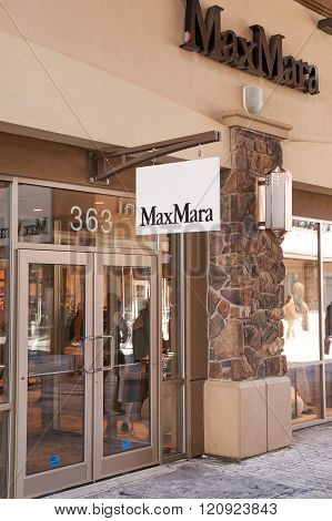 MONTREAL CANADA - MARCH 6 2016 - Max Mara outlet in Premium Outlets Montreal. The Premium Outlets is the second Premium Outlet Center in Canada located in Mirabel Quebec.