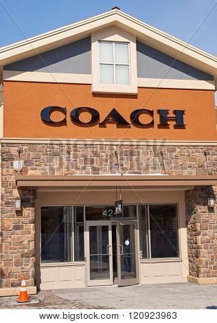 MONTREAL CANADA - MARCH 6 2016 - Coach outlet in Premium Outlets Montreal. The Premium Outlets is the second Premium Outlet Center in Canada located in Mirabel Quebec.