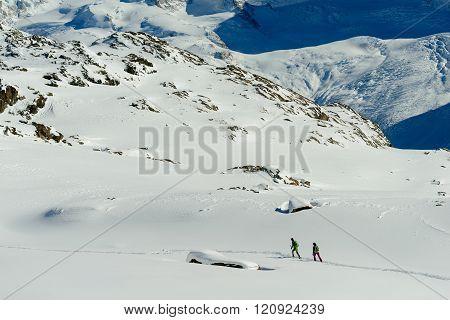 Ski trekking above Zermatt in Switzerland