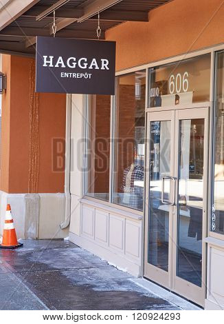 MONTREAL CANADA - MARCH 6 2016 - Haggar outlet in Premium Outlets Montreal. The Premium Outlets is the second Premium Outlet Center in Canada located in Mirabel Quebec.