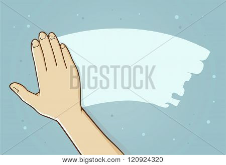 Hand Wipe Away Fog On Mirror Surface