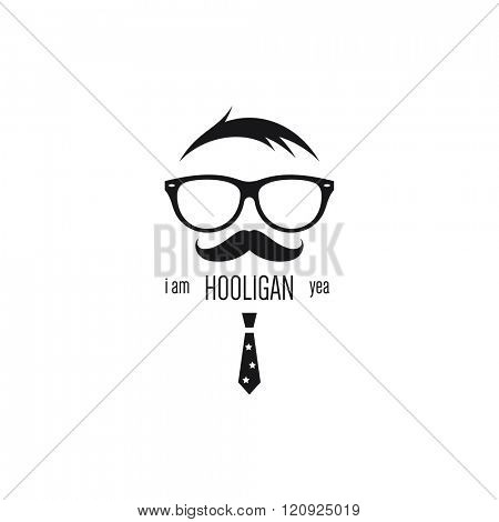 Icon of hooligan with sunglasses, mustache and red tie
