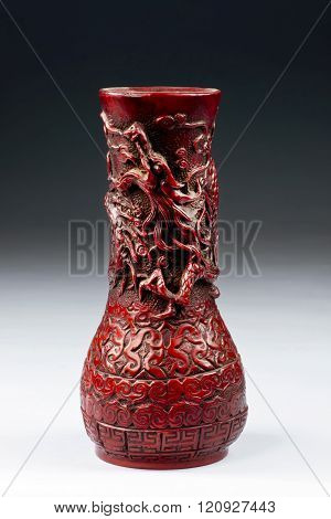 Chinese Cinnabar Dragon Vase.