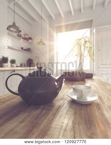 3D render of round ceramic teapot and coffee cup with saucer on table in kitchen with large window next to plant. 3d Rendering.