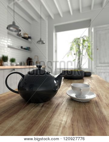 3D render of dark ceramic teapot and cup with saucer on table in kitchen with large window next to plant by door. 3d Rendering.