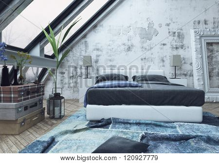 Stack of three garment boxes and potted plant on floor in bedroom with crumped blue carpet and unfinished white walls. 3d Rendering.