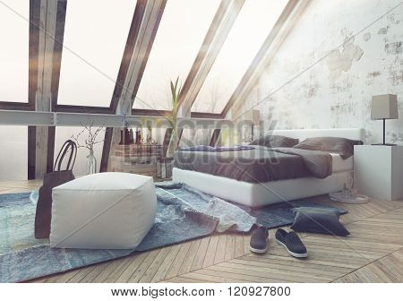 3D render of crumpled carpet in messy bedroom with sun pouring through beautiful cathedral ceiling windows. 3d Rendering.