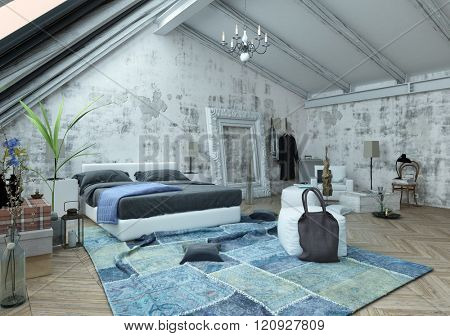 Pillow and bag on crumpled carpet next to bed with frame on unfinished wall in modern small bedroom. 3d Rendering.