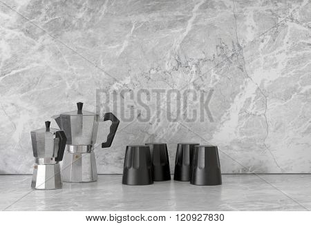 Pairs of black and chrome finish polygonal shaped coffee pots and cups on smooth granite marble surface. 3d Rendering.