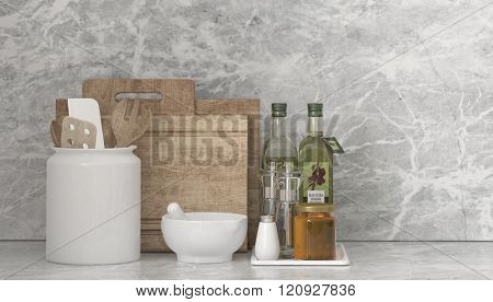 Country kitchen utensils and condiments with a pestle and mortar, olive oil decanters, chopping boards and spatulas in a ceramic jar in front of stone textured grey wall, wide angle view. 3d Rendering