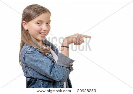 Little Girl With Her Pointing Finger, Isolated On A White
