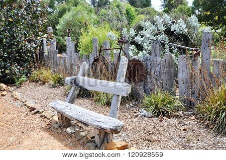 Garden Bench with Rusted Bike