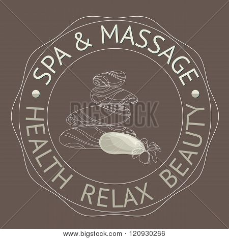 SPA themed vector illustration with stones. Badge template.