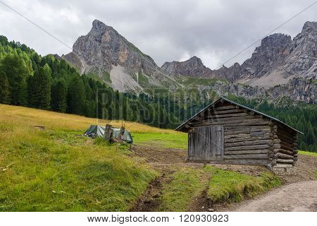 Idyllic mountain panorama during the summer season in Val San Nicolo, in the Dolomites Area