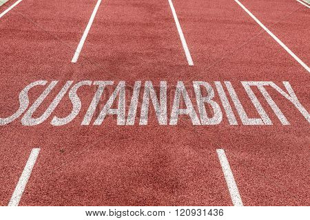 Sustainability written on running track