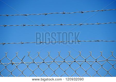 chain link fence background against blue sky