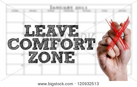 Hand writing the text: Leave Comfort Zone
