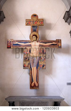 PISA, ITALY - JUNE 06, 2015: Crucifixion in the Saint Fridianus church in Pisa, Italy, on June 06, 2015