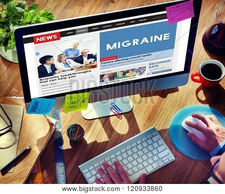 Migraine Symptoms Diagnosis Disturbed Vision Concept
