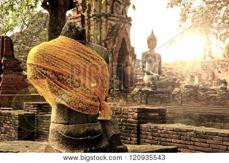 Tourist Attraction, Head Of Buddha In Wat Mahathat The Temple Of Great Relic Of Ayutthaya, Thailand.